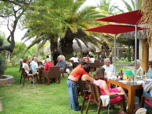 Al fresco diners enjoy the lovely gardens at the Nirvana Restaurant retreat near Atotonilco